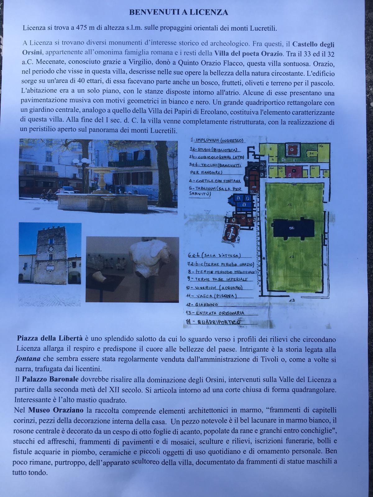 28 giugno giornata di cultura nel comune di Licenza: visita guidata  villa di Orazio e museo Oraziano